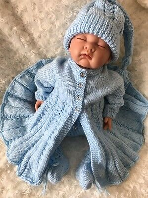 "New: Sweet Knitted 4 Piece Set For A 22""- 23"" Reborn Baby Girl/Boy Or 0-3mths"