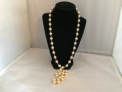 Pretty Napier Off-White Faux Pearl Long Gold Tone Beaded Necklace