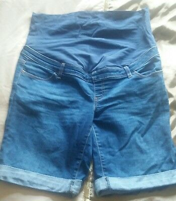 New Look size 14 over bump denim maternity shorts
