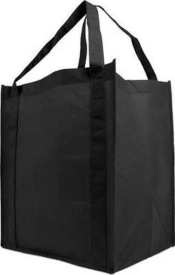 Reusable Reinforced Handle Grocery Tote Bag Large 10 Pack - Black