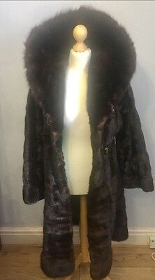 Real Mink Fur Horizontal Full Length With Russian Sable Fur Collar  S- M 8-12