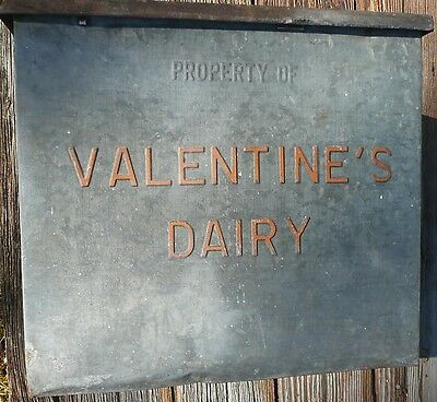 Vintage Valentine's Dairy embossed galvanized metal milk bottle Valentine box
