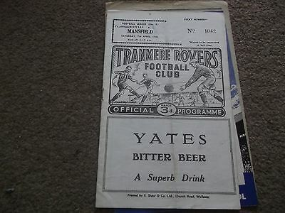Tranmere Rovers V Mansfield Town 7Th April 1962