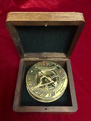 Antique Victorian Reproduction Compass And Sundial - Brass - In Wooden Case New!