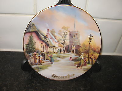 Village Scenes   Plate    - For All Time -  December -    Bradford Exchange