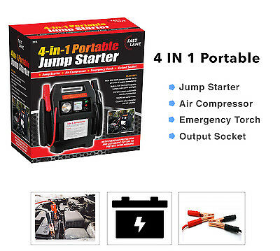 Car Engine Battery Jump Starter Booster Air Compressor Vehicle Charger 4In1