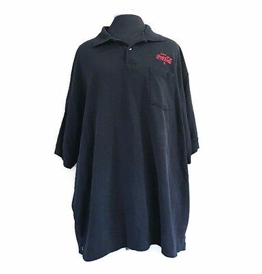 COCA COLA Embroidered Men's Polo Shirt Uniform Black Short Sleeve Size 2XL