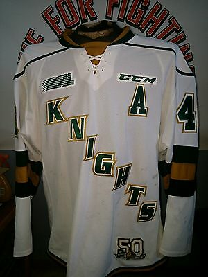 """London Knights 50th anniversary game worn White jersey OHL CHL tons of wear """"A"""""""