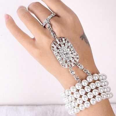 1920s Flapper Dress Gatsby Silver Bracelets Ring Cocktail Party Hair Accessories