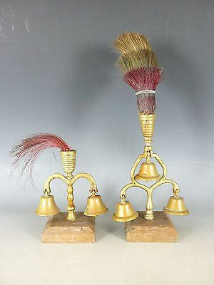 Vintage Horse Brass Fly Terret Bells With Plume