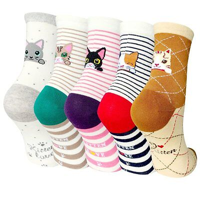5 Pairs Womens Cat Cute Animal Casual Cotton Crew Socks by Darller/size:6-11,NEW