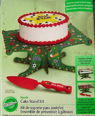 Cake Stand Kit Sports Wilton Great for cupcakes, sheet or round cake New