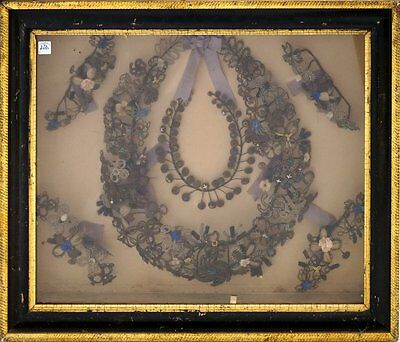 Antique Victorian Hair Mourning wreath shadow box art picture