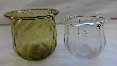 2  Victorian Blown glass candle tealight holder, fairy light, clear & yellow