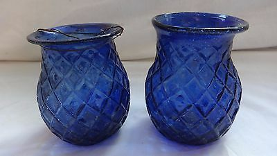 2  Victorian pressed glass candle tealight holder, fairy light, blue