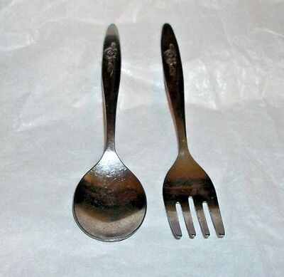 Vintage Baby Utensil Set Fork & Spoon Stainless Made Taiwan Floral Handle