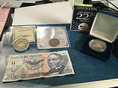 Coins & Mexico Paper Money  (See Photo Below)