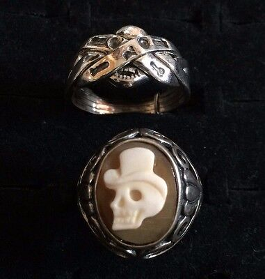 FREE SHIP shell cameo skull 925 & rare skull 4 band in 1 PUZZLE RING ALL 925  8g