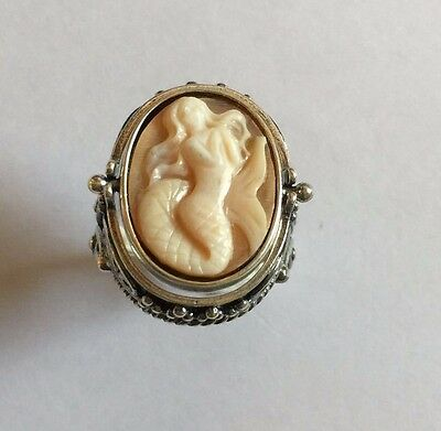 enif shell cameo mermaid ster.925 flip ring w/ moss agate s7