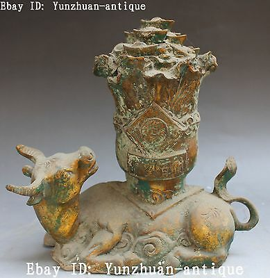 """10""""Marked Old China Bronze Ware Wealth Yuanbao Cabbage Cow Bull Animal Statue"""