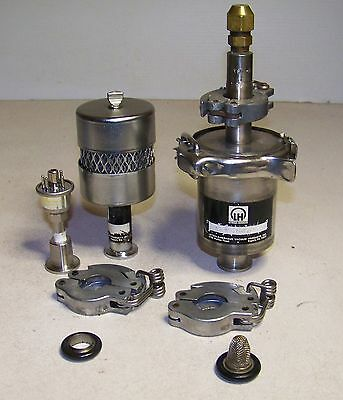 Leybold Vacuum Pump Stainless Steel Condensate Trap + Vacuum Outlet  Filter etc.