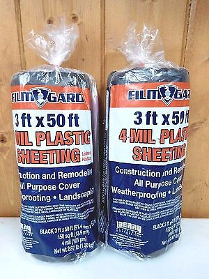 (2) Black Plastic Sheeting Rolls ~ 4 mil ~ 3' x 50' Film Gard ~ New ~ Ships Free