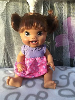 """Rare 2010 Hasbro Baby Alive Doll 2 First New Teeth Drinks/Wets 14"""" Brunette"""