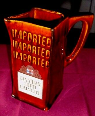 Estate Collection! Unique CANADIAN LORD CALVERT Liquor Advertising Bar Pitcher