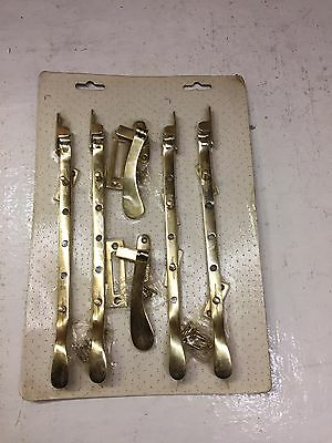 Brass Victorian Style Window Casement Fasteners X2 And Stay X4 Side Catch