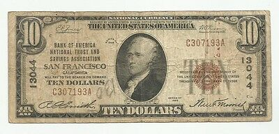 Series of 1929 $10 Brown Seal National Currency Note #13044 San Francisco (#4527