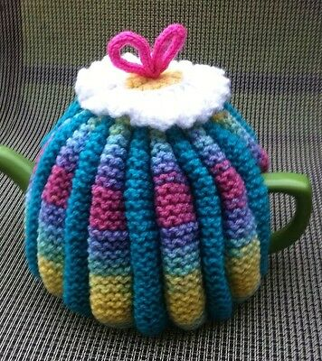 Hand Knitted Vintage Style Multicoloured Tea Cosy 4-6 Cup Size