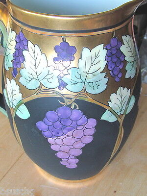Ant PICKARD CHINA HANDPAINTED WATER PITCHER R HESSLER METALLIC GRAPES & LEAVES