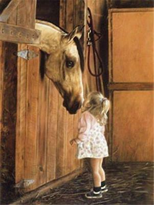 Little Visitor Horse and Girl Lesley Harrison  Poster Print