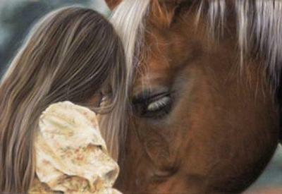 In Their Own World Horse and Girl Lesley Harrison  Poster Print