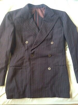 Vtg 1930s 1940s 2 Piece Suit Double Breasted Drop Waist Brown Pin Stripped