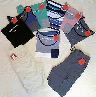 Wholesale Lot of 100 Mens clothing Cargo Shorts Tank Tops Mixed Sizes Brand New