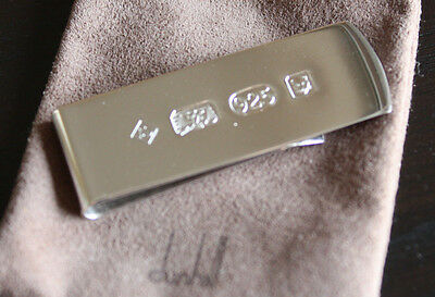 Vintage DUNHILL Sterling Silver Money Clip, 925 Hallmarked, Pouch