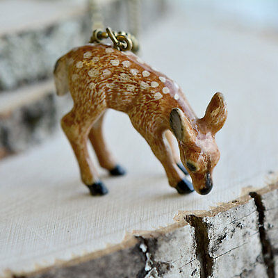 Hand Painted Porcelain Deer Necklace, Antique Bronze Chain, Fawn Ceramic Animal