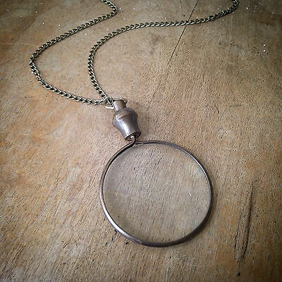 Antique Bronze Monocle Magnifying Glass Necklace - Brass & Glass Pendant & Chain
