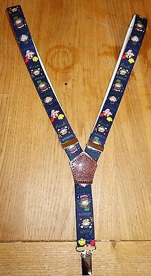 Boys Braces 2.5cm Navy Blue With Seasons Cartoon Pattern 3-5 y.o.