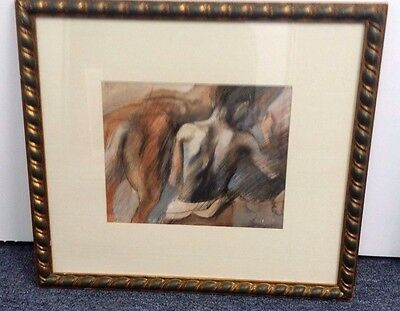 "Vintage Unsigned Man & Horse Pencil Drawing Painting Frame 22 X 20 Art 12"" X 10"