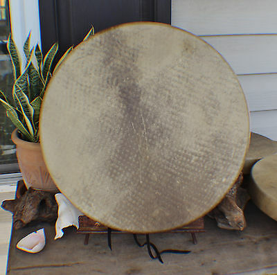 "18"" Deer Hide Hand Drum Native American Made William Lattie Cherokee Cert of Aut"