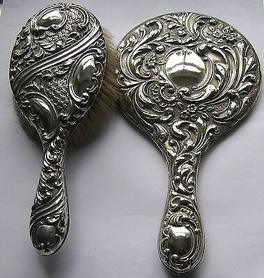 Antique Large Fancy Silver Plate Hand Mirror and Brush.