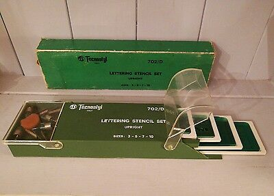Vintage Professional TECNOSTYL Lettering Stencil Set - Upright
