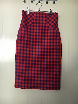 Cue Blue And Red Tartan Skirt Size 6 EUC
