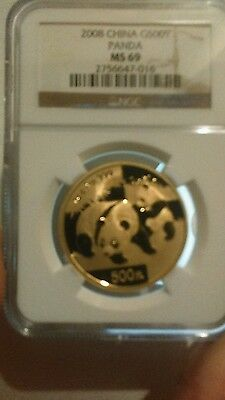China 2008 Gold 1 oz Panda 500Y NGC MS-69