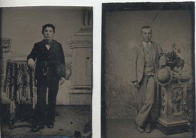 Set Of Two Tintype Portraits Of Well-Dressed Young Men W/ Painted Backdrops
