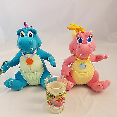 """Dragon Tales Cassie and Ord Plush 11"""" Welchs Glass Cup 1999 Playskool Toys"""