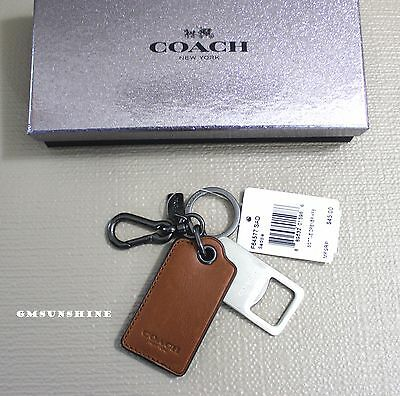 NWT COACH Saddle Leather Bottle Opener Carabiner Key Ring Fob in Gift Box F64577