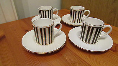 HORNSEA POTTERY SILHOUETTE Set of 4 Coffee Cups and Saucers *un-used*